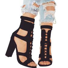 Women's Block High Heels Peep Toe Ankle Boots Strap Zipper Sandals Lace Up Shoes