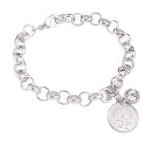 1PCS Fashion Silver Tone Zodiac Rhinestone Charm Chain Bracelet