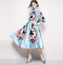 Womens Autumn New Baroco Style Printed Shirt Top Midi Flared Skirt 2 Pcs Sets