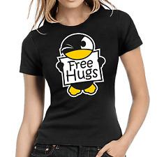 Free Hugs   Pinguin   Penguin   Cute   Fun   Funny   Cartoon XS-XL Girlie Shirt