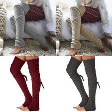 Women Winter Warm Cotton Knit Over Knee Long Boot Thigh-High Socks Leggings