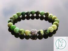 Buddha Chrysoprase Natural Gemstone Bracelet 6-9'' Elasticated Healing Stone