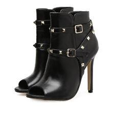 Sandali stivali estivi tacco stiletto 11 cm nero simil pelle eleganti 9695