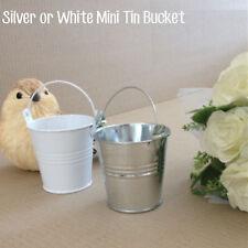 1 |10 Silver White Mini Bucket Tin Pot Handle Wedding Party
