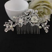 New Wedding Bridal Crystal Rhinestones Pearls Flowers Diamante Hair Clip Comb