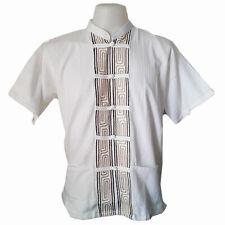 Mens Mandarin Collar Shirt Thai Bohemian Embroider Pattern White Cotton T-Shirt