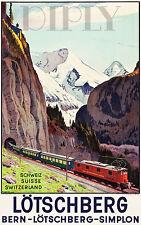 REPRO DECO AFFICHE SIMPLON LOTSCHBERG BERN TRAIN RAIL SUR PAPIER 310 OU 190 GRS