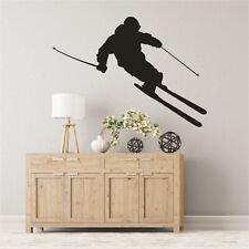 Schatten Wandtattoo Ski Skifahrer Abfahrt Slalom Sport Wandaufkleber Sticker