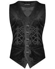 Devil Fashion Mens Gothic Waistcoat Vest Black Paisley Velvet Steampunk Regency