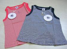 T-Shirt ohne Arm, in marine oder orange geringelt von Petit Bateau. NEU!