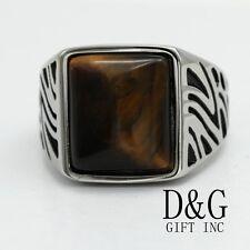DG Men's Stainless-Steel Black Tigers Eye Ring Size;8.9,10,11,12 13 New + Box