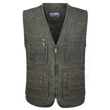 Mens Multi Pocket Waistcoat Vest Denim Outdoor Gilet Jacket Weskit Hiking Fish