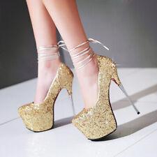 Femme Stiletto Talon Haut Bride Cheville Plateforme Brillant Mariage Escarpins Fête Chaussures