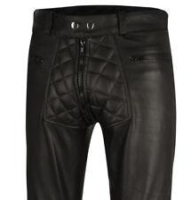 Gesteppte Lederhose neu schwarz Designer Hose Leder leather pants trousers black