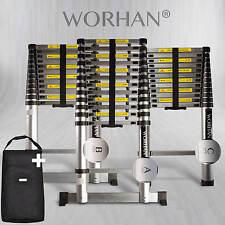WORHAN® 3.8m Telescopic Single Ladder Multi Purpose Extendable Aluminium Ladders