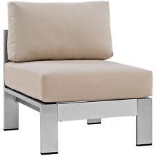 Shore Armless Outdoor Patio Aluminum Chair - Silver Beige