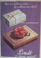 PUBLICITE CHOCOLAT LINDT BONBON AU CHOCOLAT BOITE COFFRET DE 1957 FRENCH AD