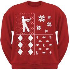 Zombies Festive Blocks Ugly Christmas Sweater Red Crew Neck Sweatshirt