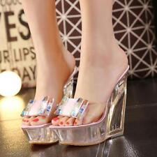 Women's Clear Transparent High Platform Open Toes Wedge Heels Sandals Pump Shoes