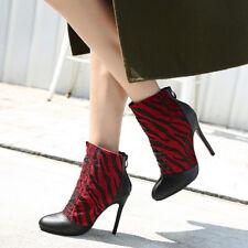 botas bajo tacón de aguja 10.5 cm rojo negro elegantes como piel 9512