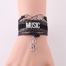 Little MingLou Infinity Love music bracelet note charm leather wrap hobby bra...
