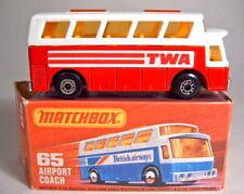 """Matchbox SF Nr.65C Airport Coach rot & weiß """"TWA"""" top in Box"""