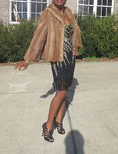 Classy Elegant Designer Crop brown Mink Fur coat jacket bolero Stroller S-M 2-10