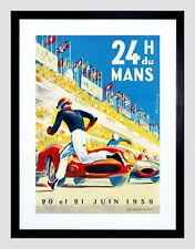 85937 SPORT MOTOR RACE 24 HOUR LE MANS FRANCES BLACK Decor WALL PRINT POSTER CA