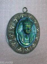 Pharao Anhänger 50er Jahre Modeschmuck silber/grün/lila