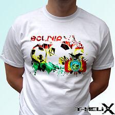 BANDIERA della Bolivia di calcio-Bianco T Shirt Top Maglietta da calcio-Linea Uomo Donna Bambini Baby