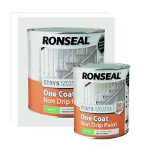 Ronseal - One Coat Stays White Non Drip Paint - MATT FINISH - 750ml / 2.5L