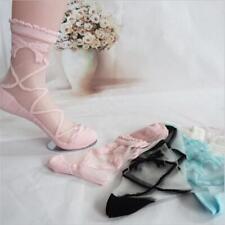 Lace Flower Frill Trim Ankle Transparent Bowknot Sheer Mesh Glass Silk Socks