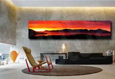 Sunset Red Sun Nature Panoramic Lake Wall Decor Art Canvas Print