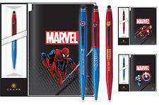 CROCE MARVEL TECH 2 Penna a sfera & giornale di Capitan America, Iron Man, Spider Man