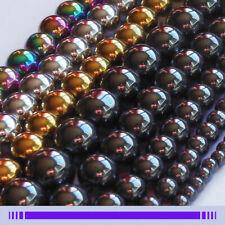 Lot Perles Hématite 4/6/8/10/12mm Rondes Noir/Or/Argent Shamballa Bracelet