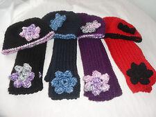 HAT.NECK WARMER.SCARF.VANNA'S CHOICE.RED.PURPLE.BLACK.BLUE.FLOWER.CROCHET.