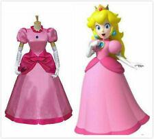 NEW! Cartoon Super Mario Princess Peach Pink dress cosplay costume