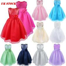 Kids Flower Girl Dress Sequins Princrss Party Wedding Bridesmaid Tutu Dresses UK