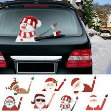 Merry Christmas Wiper Sticker Car Window Decor Waving Santa Claus Snowman Decals
