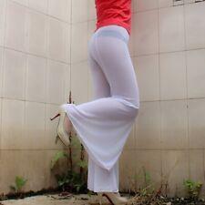Femme Maille Transparente Évasé Pantalon Patte D'Éléphant Stretch Danse Fête