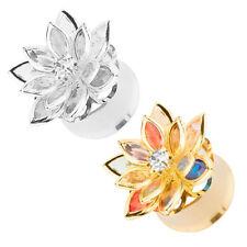 Ohr Flesh Tunnel Plug Piercing Double Flared Blumen Blüte mit Kristallen