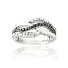 925 Silver Black Diamond Accent Black & White Wave Design Ring
