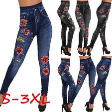 Fashion Women Leggings Pants High Waist Rhinestone Jeans Rose Print Trouser Sexy