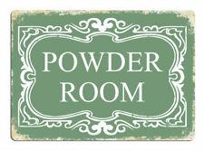 Powder Room GREEN Metal Wall Sign Plaque Art Bathroom Toilet Makeup Ladies