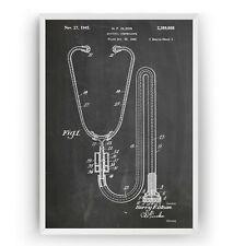 Stethoscope 1945 Patent Print Poster Doctor Medical Student Art Gift - Unframed