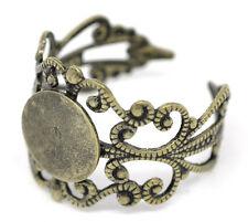 Wholesale Lots Bronze Tone Adjustable Filigree Rings 18.3mm