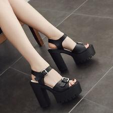 Sexy Punk Womens Club High Heel Platform Block Shoes Summer Sandals Pretty