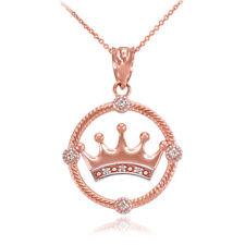 10K Rose Gold Quinceanera Crown Diamond Pendant Necklace