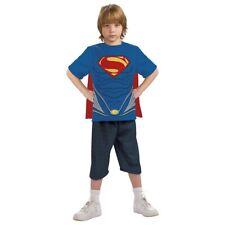 Superman Shirt with Cape Kids Costume Top Halloween Fancy Dress Up