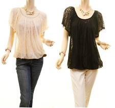 Women Victorian Renaissance Sheer Laced Medieval Peasant Tunic Blouse Shirt Top
